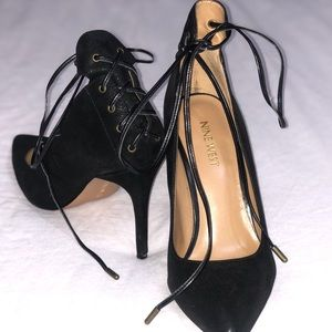 Black heels with wrap around ties